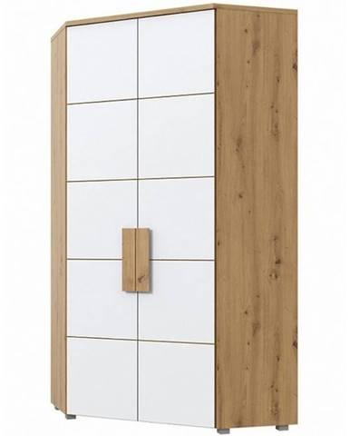 Rohová skříň Arkina 97 cm, dub artisan/bílá