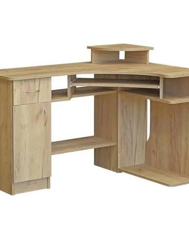 Rohový Psací Stůl Mariusz 124cm Buk