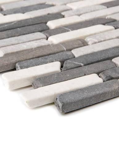 Mozaika marmormix schwarz grau weiss Slimbrick 53827 30,5x30,5