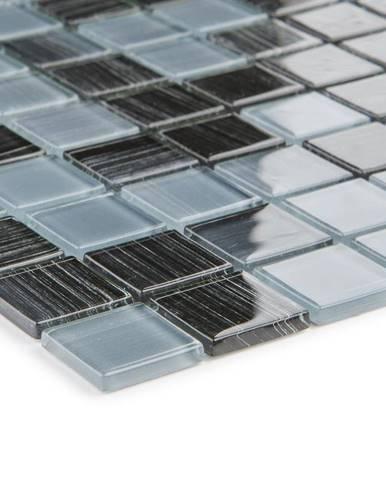 Mozaika schwarz grau Gestreift 53209 30x30x0,4