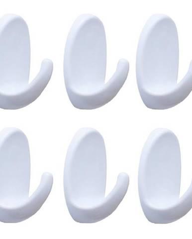 Věšák plastový bílý oval 6ks