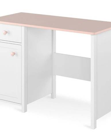 Psací Stůl Luna 110cm Bílý/Ružová