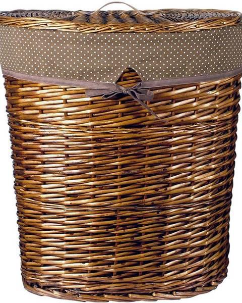 BAUMAX Proutěný košík ovál 49x37x55 s víkem hnědý
