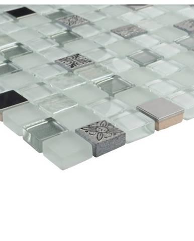 Mozaika glas weiss mix/relief/ 78868 30x30x0,8