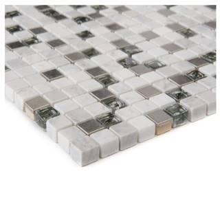 Mozaika glas permutt marmor weiss/edestahl 66261 30x30x0,8
