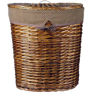 Proutěný košík ovál 49x37x55 s víkem hnědý