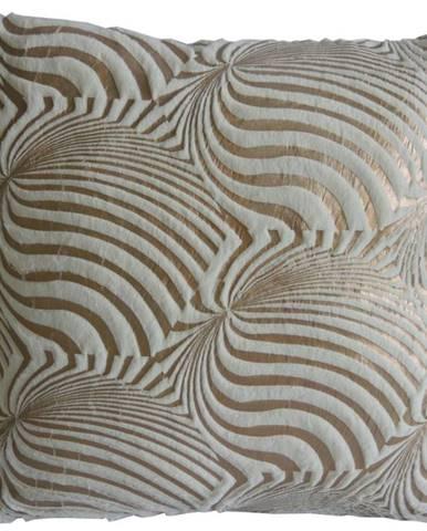 Dekorační polštář, 45x45 cm, zlatobílý