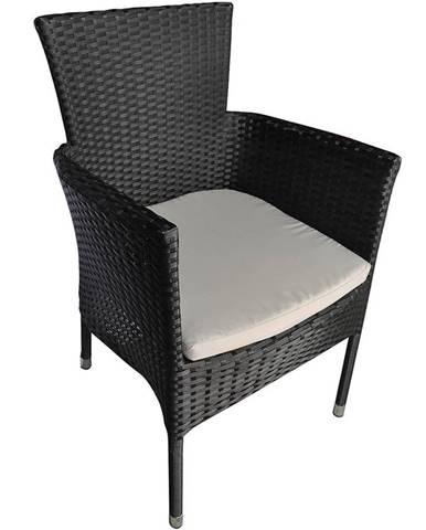 Židle ratan černá s polštářem