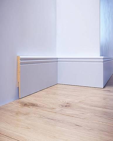 Podlahová lišta dýhovaná MDF Foge LO8 80 bílá polmat
