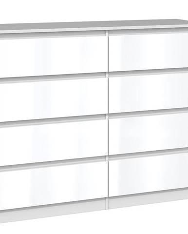 Komoda Malwa M8 120 Bílý/Bílý Lesk