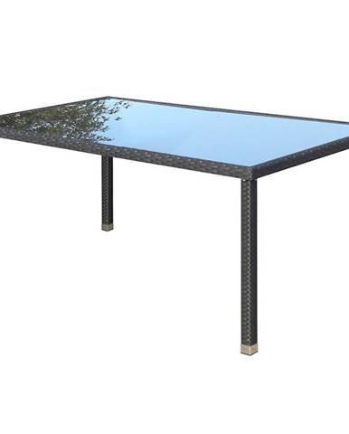 Skleněný stůl ratan 150x90x70cm černá