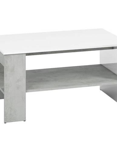 Konferenční stolek Lumens 100 cm, bílá / beton