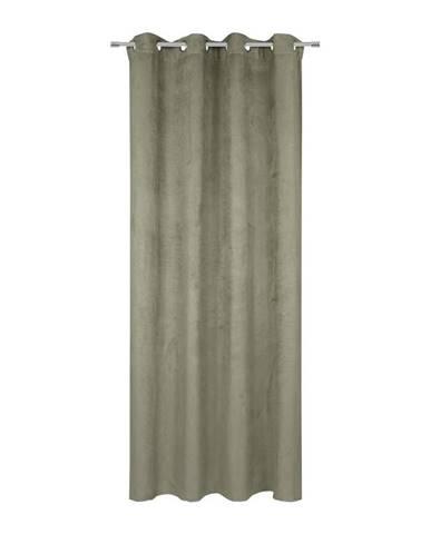 Závěs S Očky Velours, 140/245cm, Zelená