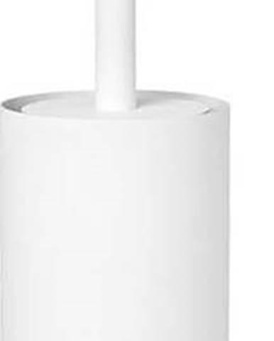 Bílý nerezový nástěnný toaletní kartáč Blomus