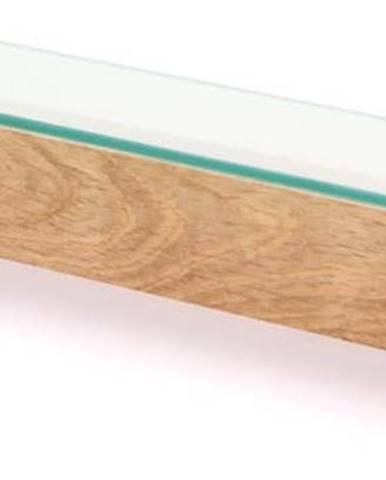 Police se skleněnou deskou z dubového dřeva Wireworks Mezza, délka 55cm