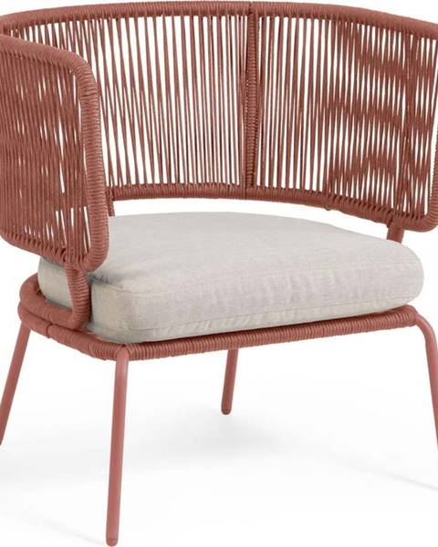 La Forma Zahradní křeslo v terakotové barvě s ocelovou konstrukcí La Forma Nadin