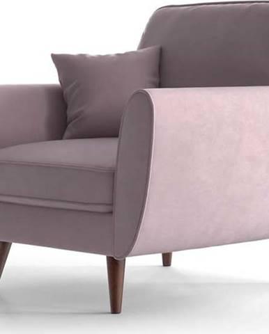 Světle růžové sametové křeslo My Pop Design Auteuil