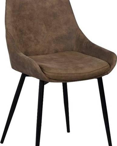 Hnědá polstrovaná jídelní židle Rowico Sierra
