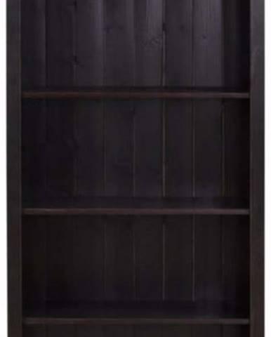 Tmavě hnědá knihovna z masivního borovicového dřeva Støraa Pinto