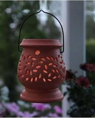 Červená venkovní LED lucerna Star Trading Clay Terracotta