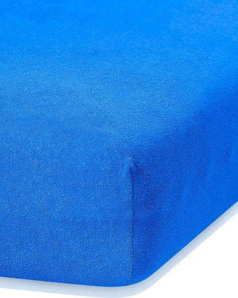 AmeliaHome Modré elastické prostěradlo s vysokým podílem bavlny AmeliaHome Ruby, 80/90 x 200 cm