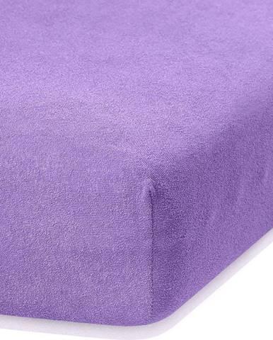 Fialové elastické prostěradlo s vysokým podílem bavlny AmeliaHome Ruby, 80/90 x 200 cm