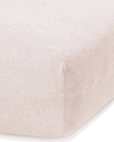 Světle béžové elastické prostěradlo s vysokým podílem bavlny AmeliaHome Ruby, 160/180 x 200 cm