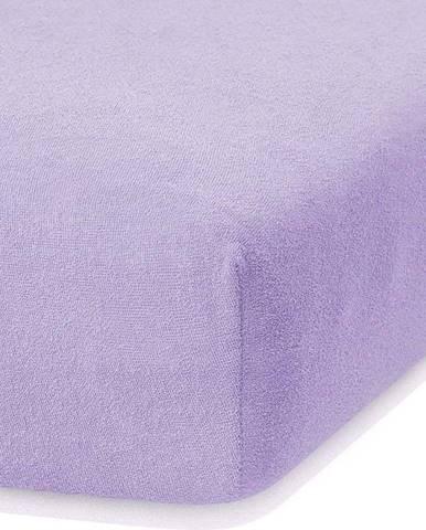 Světle fialové elastické prostěradlo s vysokým podílem bavlny AmeliaHome Ruby, 100/120 x 200 cm