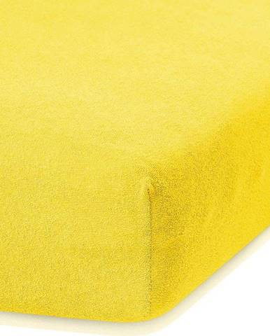 Tmavě žluté elastické prostěradlo s vysokým podílem bavlny AmeliaHome Ruby, 140/160 x 200 cm