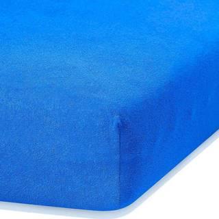 Modré elastické prostěradlo s vysokým podílem bavlny AmeliaHome Ruby, 80/90 x 200 cm