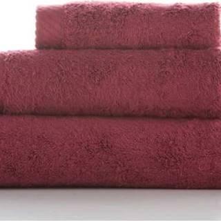 Sada 3 tmavě červených bavlněných ručníků El Delfin Lisa Coral