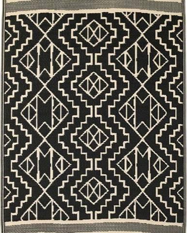 Černý oboustranný venkovní koberec z recyklovaného plastu Fab Hab Kilimanjaro Black, 90 x 150 cm