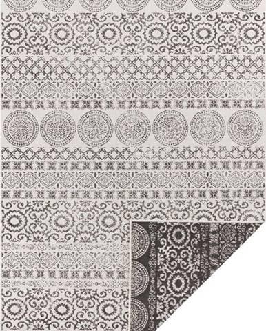 Hnědo-bílý venkovní koberec Ragami Circle, 120 x 170