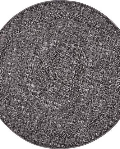 Tmavě šedý venkovní koberec Bougari Almendro, Ø 160 cm