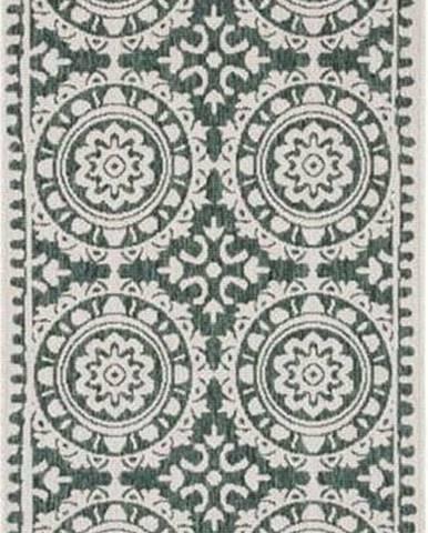 Zeleno-krémový venkovní koberec Bougari Jardin, 80 x 350 cm
