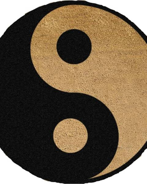 Artsy Doormats Černá kulatá rohožka z přírodního kokosového vlákna Artsy Doormats Yin Yang, ⌀70cm