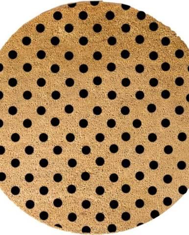 Černá kulatá rohožka z přírodního kokosového vlákna Artsy Doormats Dots, ⌀70cm