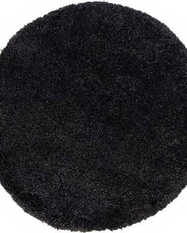 Černý koberec Flair Rugs Sparks, ⌀ 133 cm