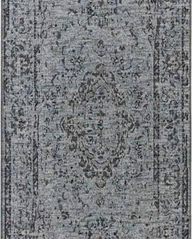 Modrý běhoun vhodný do exteriéru Elle Decoration Curious Cenon, 77 x 200 cm