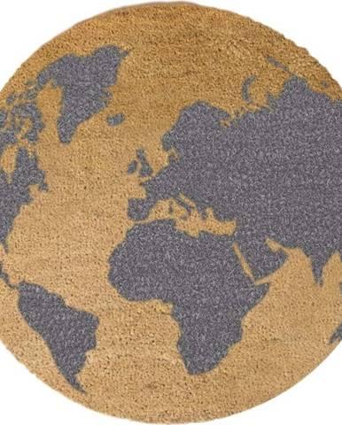 Šedá kulatá rohožka z přírodního kokosového vlákna Artsy Doormats Gloge, ⌀70cm