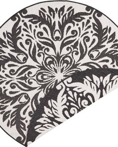 Černo-krémový venkovní koberec Bougari Madrid, ⌀ 140 cm