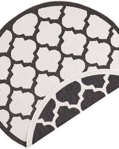 Černo-krémový venkovní koberec Bougari Palermo, ⌀ 140 cm