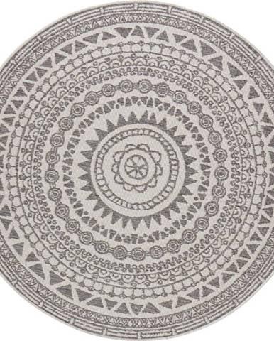 Šedo-krémový venkovní koberec Bougari Coron, ø 140 cm