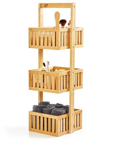 Blumfeldt Premium regál do sprchy, 27 x 82 x 24 cm, mřížkovaný design, odolný vůči vodě, bambus