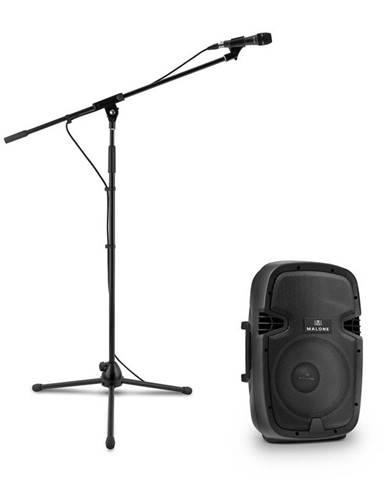 Malone PW-2112, sada s aktivním PA reproduktorem a mikrofonem, 600 W, černá