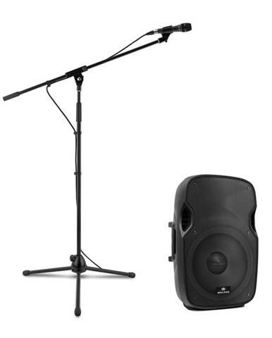 Malone PW-2915, sada s aktivním PA reproduktorem a mikrofonem, 800 W, černá