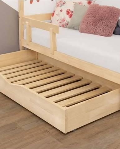 Přírodní dřevěný šuplík pod postel s roštem a plným dnem BenlemiBuddy, 90x160cm