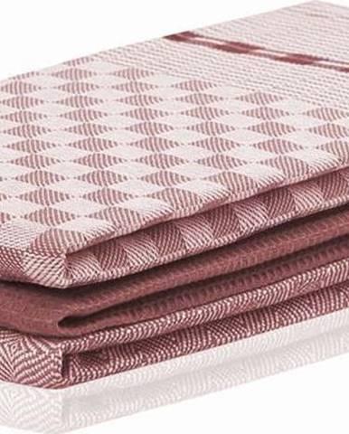 Sada 3 tmavě růžových bavlněných utěrek DecoKing Louie, 50 x 70 cm