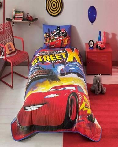 Dětský bavlněný přehoz přes postel s povlakem na polštář Taç Disney Cars Nitroade, 160 x 220 cm