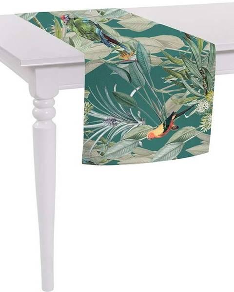 Mike & Co. NEW YORK Zelený běhoun na stůl Mike & Co. NEW YORK Jungle Birds,140x40cm